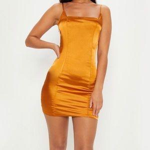 ✨PrettyLittleThing Gold Satin Dress.